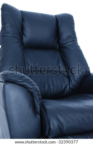 detail of black leather recliner on white background shallow depth of field with only - Black Leather Recliner