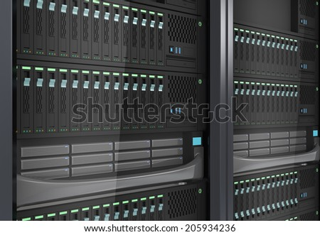 Detail of blade server system for cloud computing technology concept - stock photo