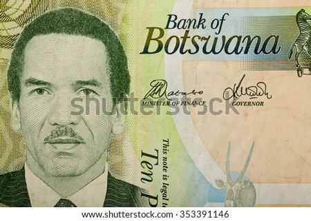 Detail of 10 Botswana Pula banknote. Botswana Pula is the national currency of Botswana