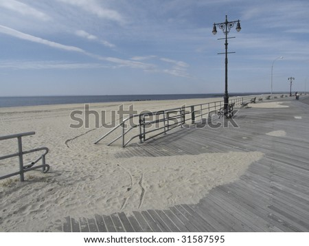 detail of Brighton Beach and the Boardwalk in Coney Island - stock photo