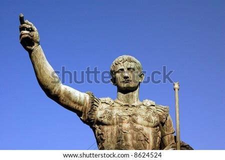 Detail of bronze statue of Julio Caesar - Rome - Italy - stock photo