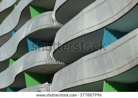 Detail of building in modern architectural style - stock photo