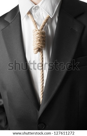 Detail of businessman with hangman's noose instead of tie symbolizing economic breakdown. - stock photo