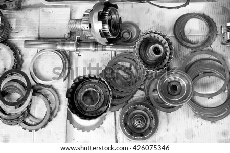 Detail of car engine part. black and white. - stock photo
