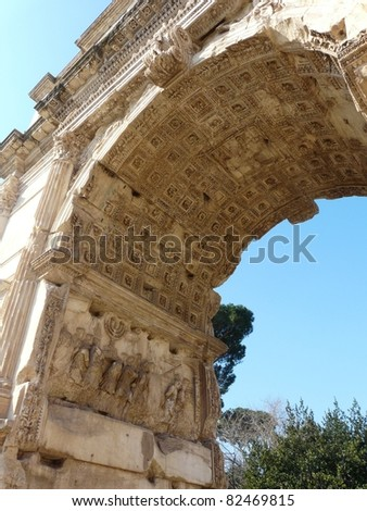 Detail of carvings celebrating Titus' victories in Judea on the Arch of Titus at the Roman Forum in Rome, Italy - stock photo