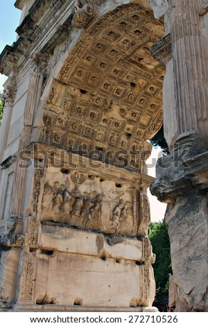 Detail of carvings celebrating Titus' victories in Judea on the Arch of Titus at the Roman Forum in Rome, Italy. - stock photo
