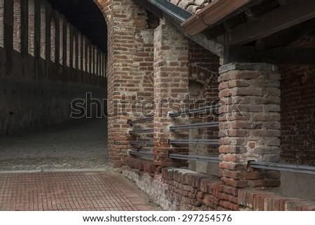 Detail of Castello Sforcesco in Vigevano - stock photo