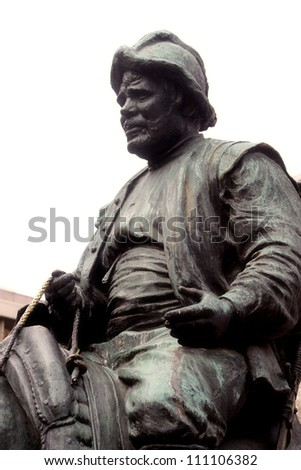 Detail of Cervantes monument represent Sancho Panza, squire of Don Quixote in Madrid, Spain