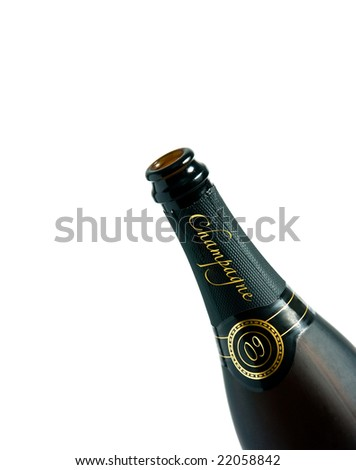 detail of champagne bottle with champagne written on it and 09 - stock photo
