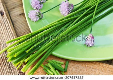 detail of chives on the green plate