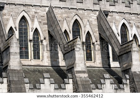 Detail of Christ Church Cathedral in Dublin, Ireland - stock photo