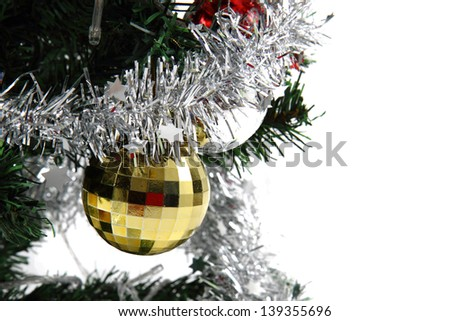 detail of christmas tree isolated on the white background - stock photo