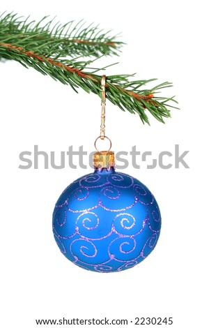 Detail of christmas tree with a blue glass ball