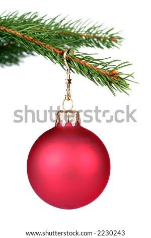 Detail of christmas tree with a red glass ball