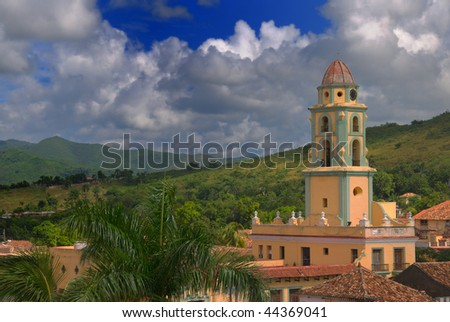 Detail of church tower in Trinidad town against escambray sierra, cuba - stock photo