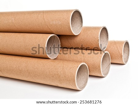 detail of classic cardboard pipe - stock photo