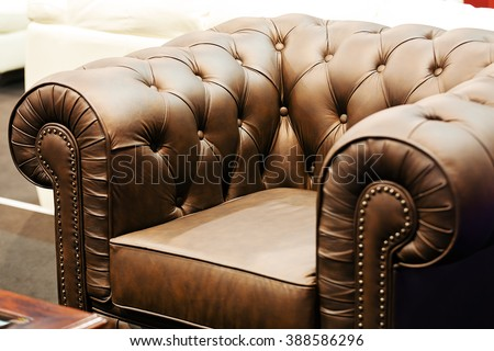 Detail of classic furniture sofa in living room. - stock photo