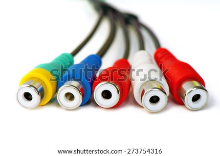 Detail of colorful audio video cable - stock photo