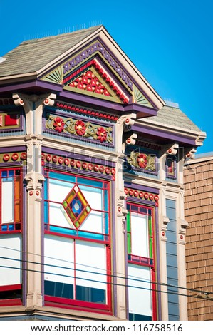 Detail of colorful house in San Francisco, California, USA - stock photo