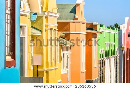 Detail of colorful houses in Luderitz - The ancient german style town in south Namibia - African european settlement - stock photo