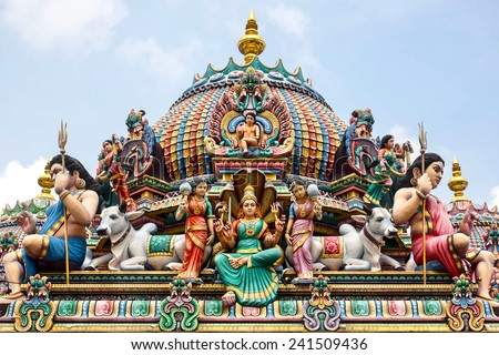 Detail of colorful Sri Mariamman temple, the oldest Hindu temple in Singapore.  - stock photo