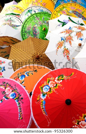 Detail of colorful sunshades - stock photo