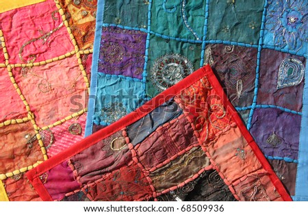 detail of colorful traditional vintage carpet with oriental texture - stock photo