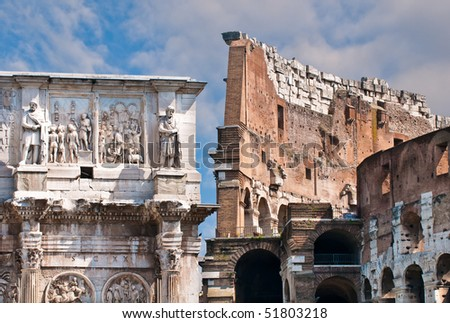 Detail of Colosseum and Arch of Constantine, Rome