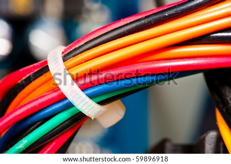 Detail of Computer mother board Cables connections . - stock photo
