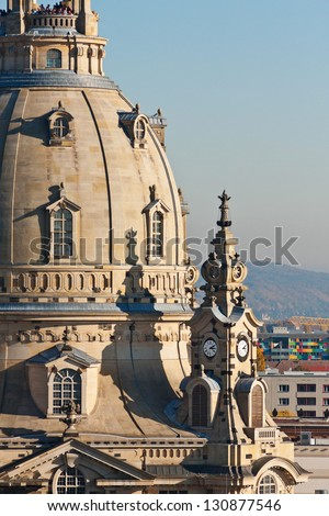 Detail of cupola Frauenkirche - stock photo