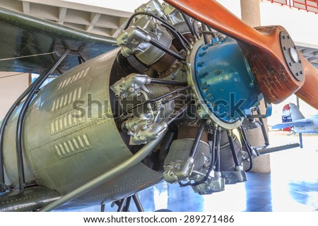 detail of 9 cylinder Radial Engine of old airplane - stock photo