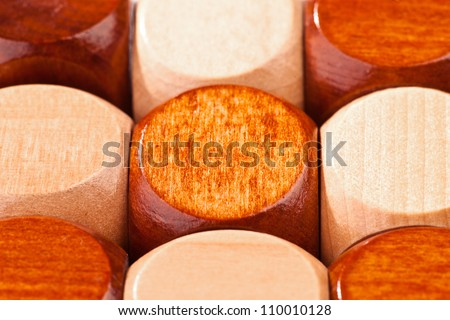 detail of 3D wooden puzzle, cube-shaped