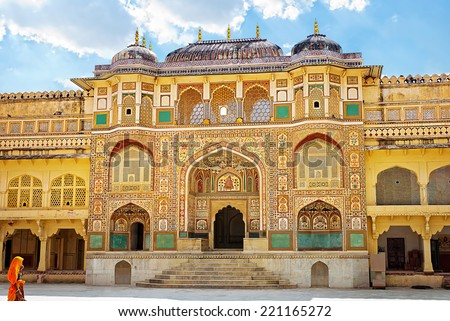 Detail of decorated gateway. Amber fort. Jaipur, India  - stock photo