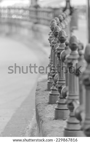 Detail of decorative cast iron fence on the Danube embankment. Budapest. Hungary - stock photo