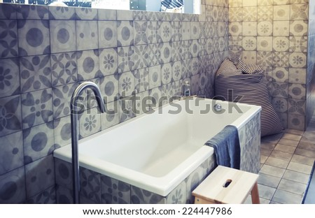 detail of designed bath room - stock photo