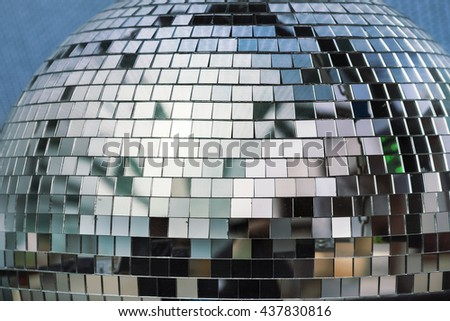 Detail of disco ball made from small mirrors