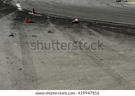 detail of drift track with rubber track - stock photo