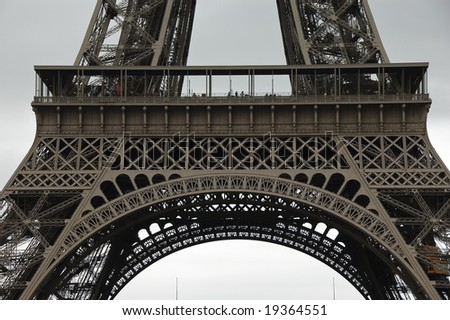 Detail of Eiffel Tower first level metal structure