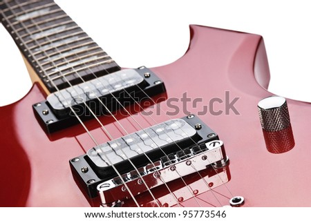 detail of electric guitar isolated on white background - stock photo