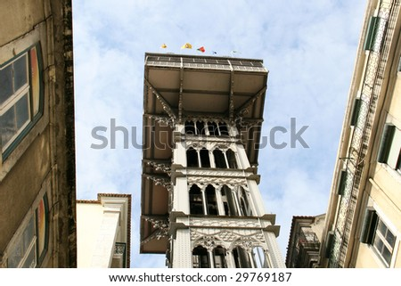 detail of elevator of Santa Justa - famous  historical lift in the centre of Lisbon, Portugal (symbol of Lisbon