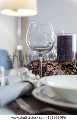 Detail of empty glass on table readay for dinner  - stock photo