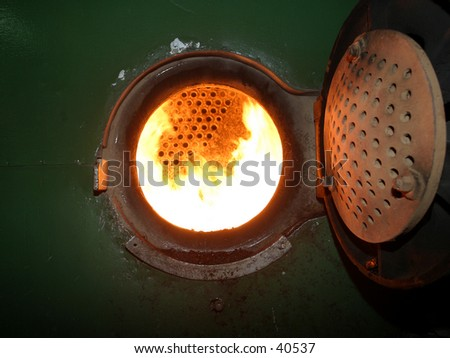 Detail of Engine Room on Steam Ship - stock photo