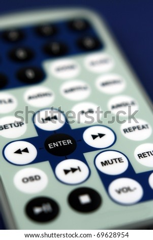 Detail of enter key on remote control - stock photo
