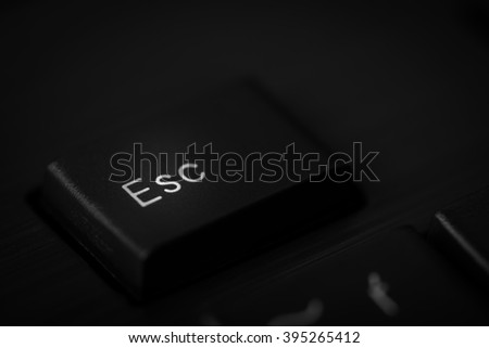 Detail of Esc key on the black flat keyboard in shallow depth of field. - stock photo