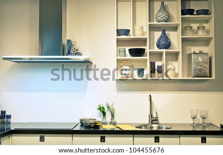 detail of evening light in new kitchen - stock photo