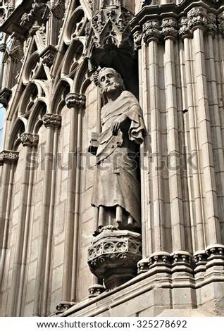 Detail of exterior of Santa Maria del Mar cathedral, Barcelona - stock photo