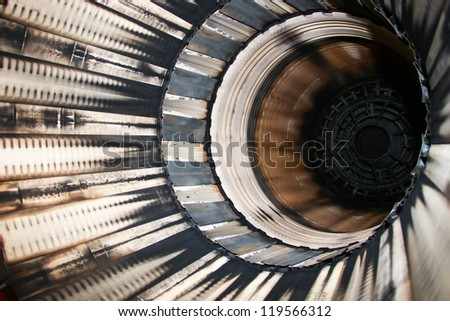 detail of F16 plane jet engine - stock photo