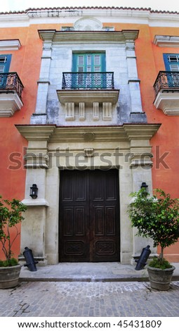 Detail of facade from vintage colonial building in Old Havana - stock photo
