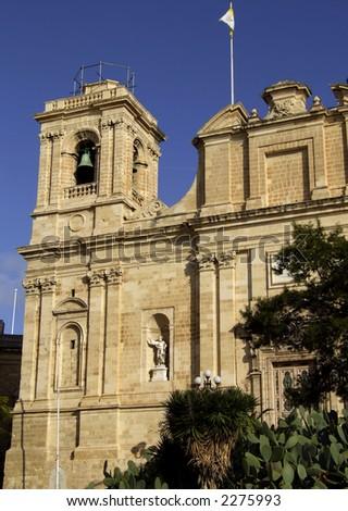 Detail of facade of a medieval church in Malta - stock photo