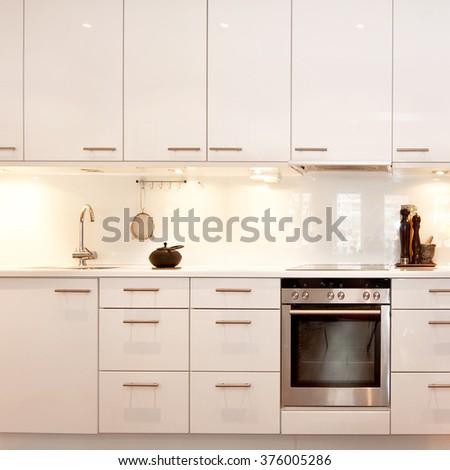 detail of fancy kitchen interior - stock photo